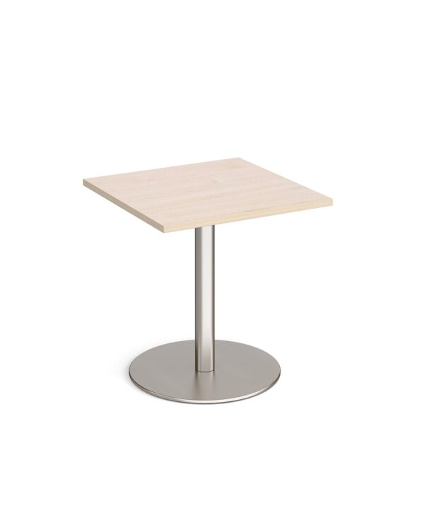 Monza square dining table with flat round brushed steel base 700mm - maple - Furniture