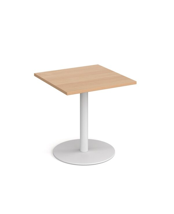 Monza square dining table with flat round black base 700mm - beech - Furniture