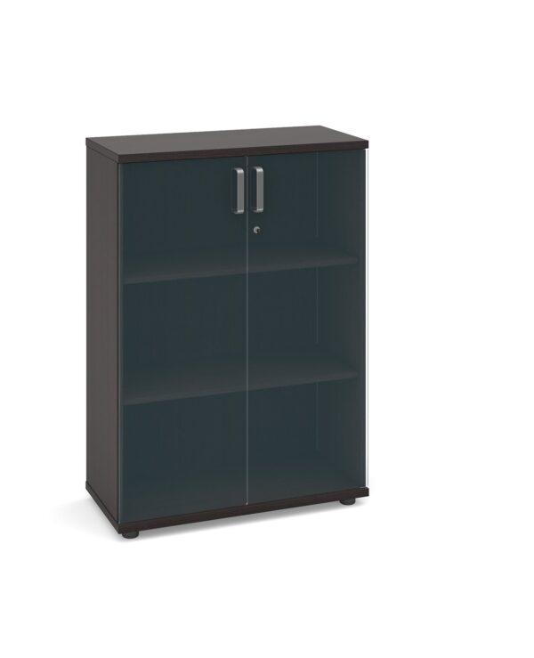 Magnum low cupboard with glass doors 1130mm high - dark oak - Furniture