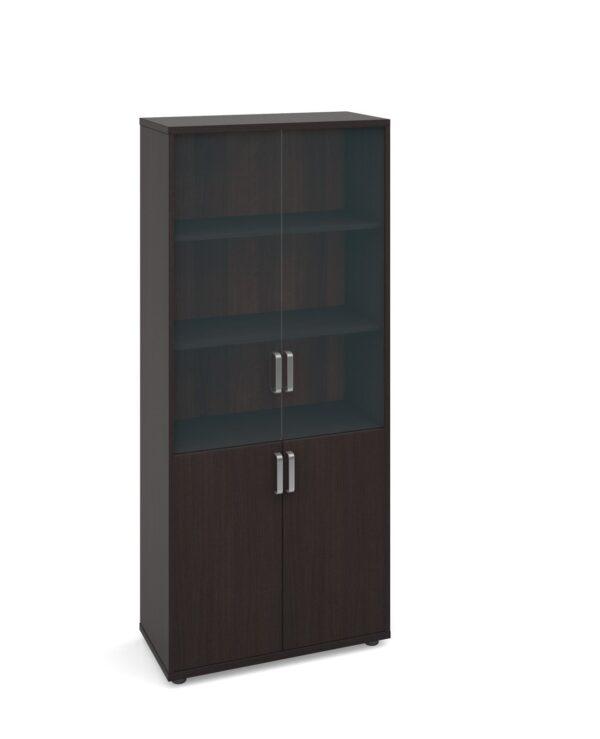 Magnum combination unit with glass upper doors 1840mm high - dark oak - Furniture