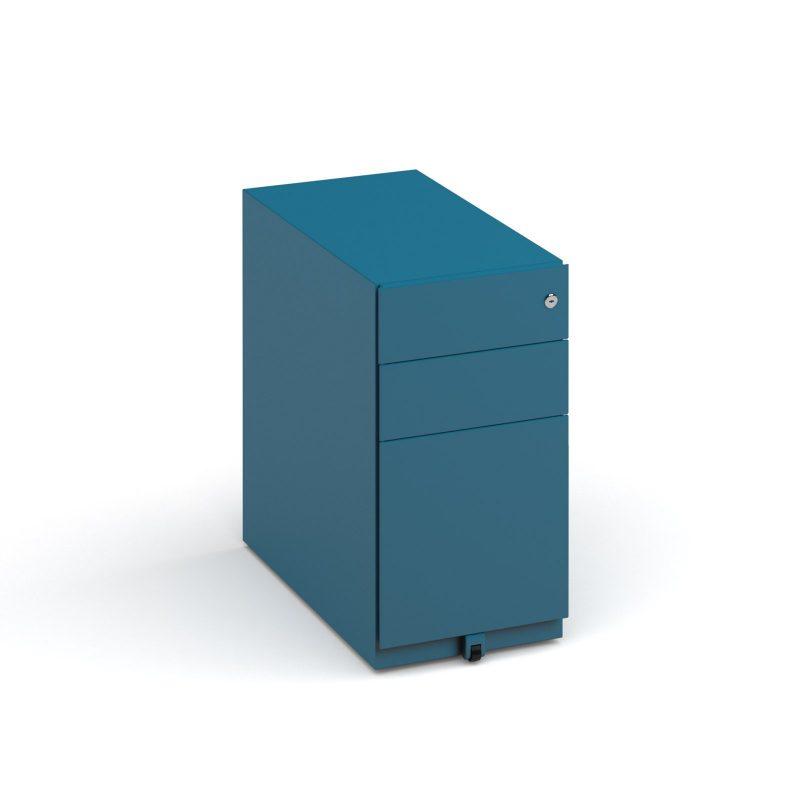 Bisley slimline steel pedestal 300mm wide - blue - Furniture