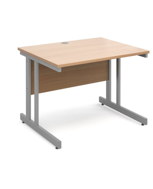 Momento straight desk 1000mm x 800mm - silver cantilever frame, beech top - Furniture