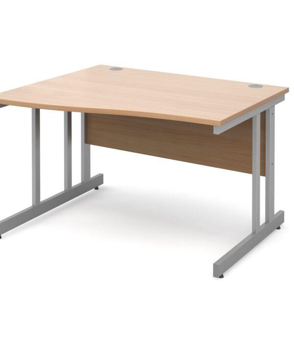 Momento left hand wave desk 1200mm - silver cantilever frame, beech top - Furniture