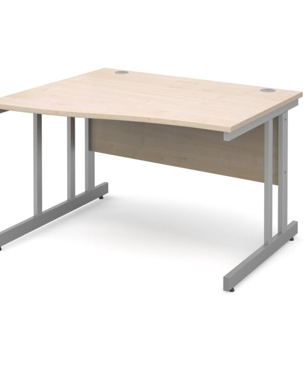Momento left hand wave desk 1200mm - silver cantilever frame, maple top - Furniture