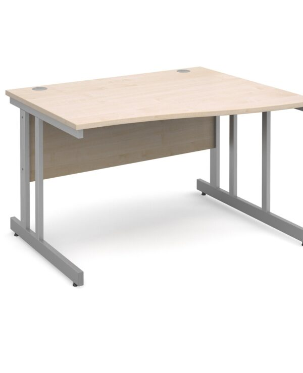 Momento right hand wave desk 1200mm - silver cantilever frame, maple top - Furniture