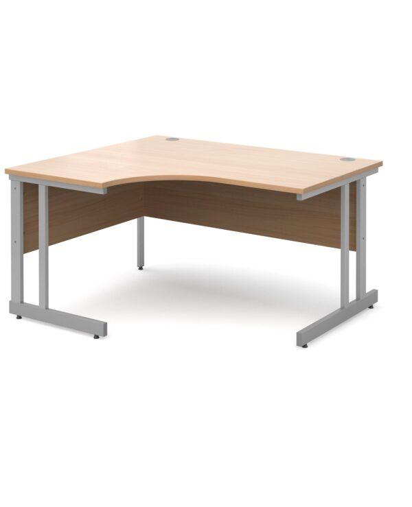 Momento left hand ergonomic desk 1400mm - silver cantilever frame, beech top - Furniture