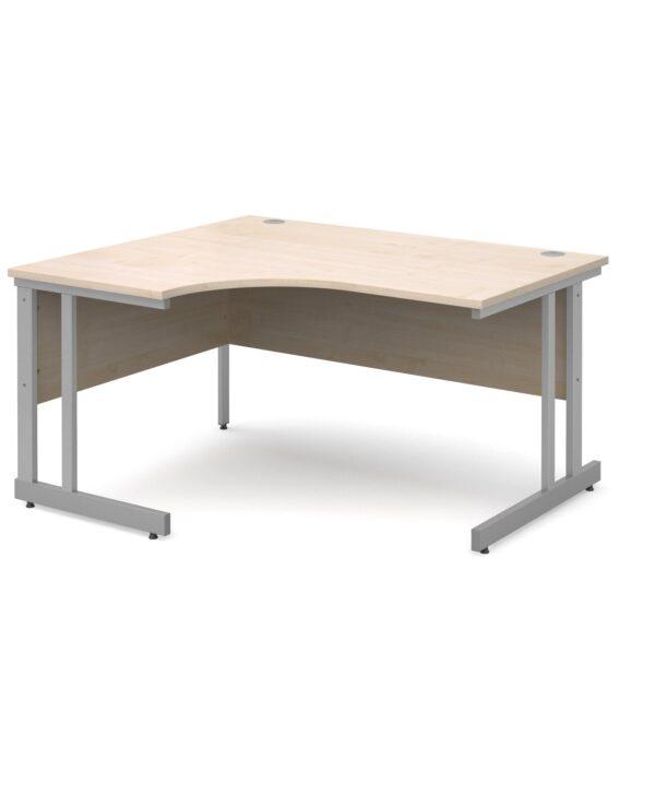 Momento left hand ergonomic desk 1400mm - silver cantilever frame, maple top - Furniture
