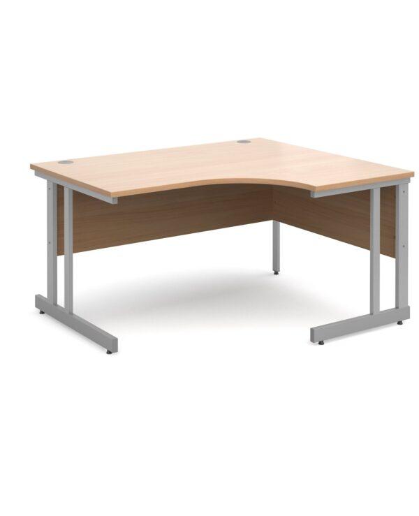 Momento right hand ergonomic desk 1400mm - silver cantilever frame, beech top - Furniture