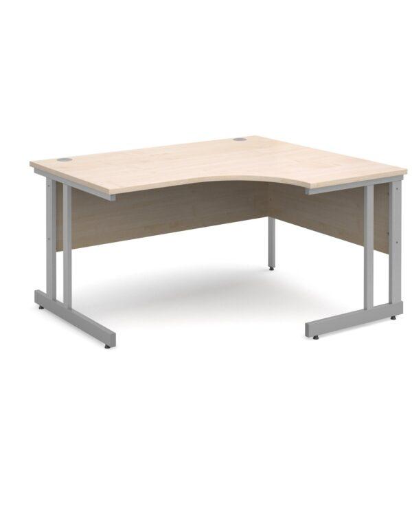Momento right hand ergonomic desk 1400mm - silver cantilever frame, maple top - Furniture