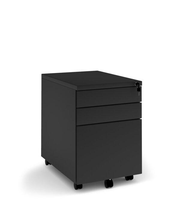 Steel 3 drawer wide mobile pedestal - black - Furniture