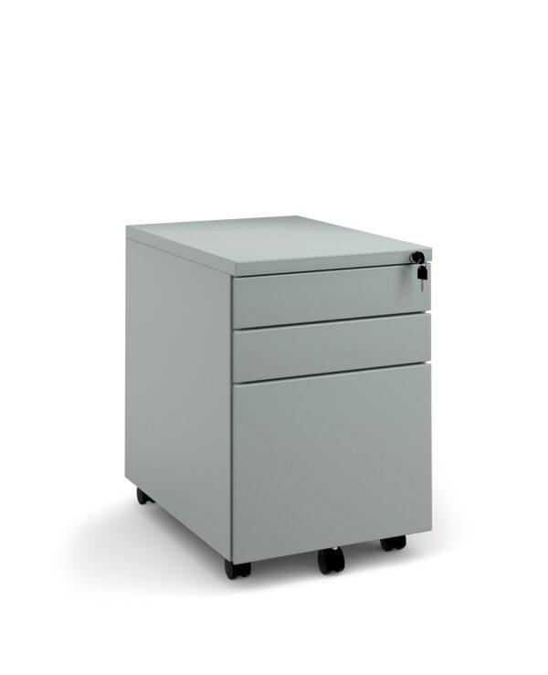 Steel 3 drawer wide mobile pedestal - silver - Furniture