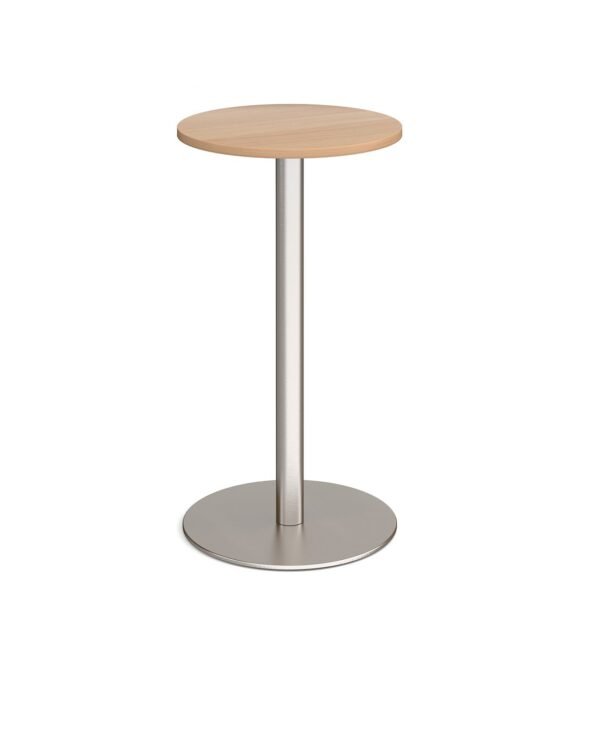Monza circular poseur table with flat round brushed steel base 600mm - beech - Furniture