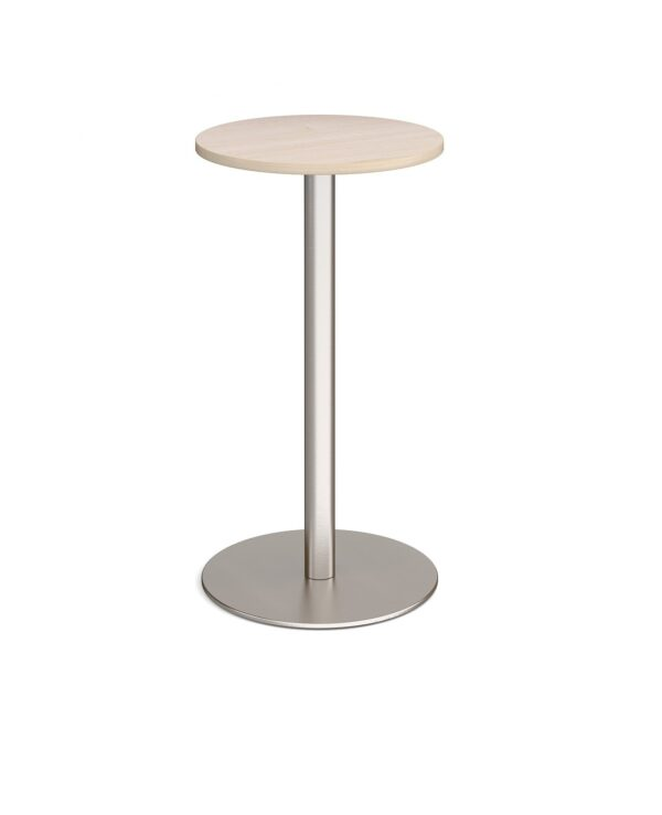 Monza circular poseur table with flat round brushed steel base 600mm - maple - Furniture
