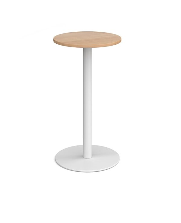 Monza circular poseur table with flat round black base 600mm - beech - Furniture