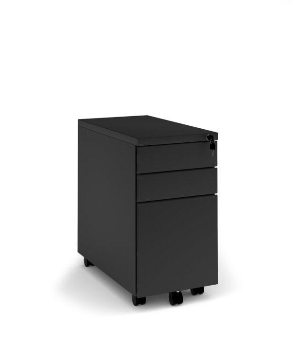 Steel 3 drawer narrow mobile pedestal - black - Furniture
