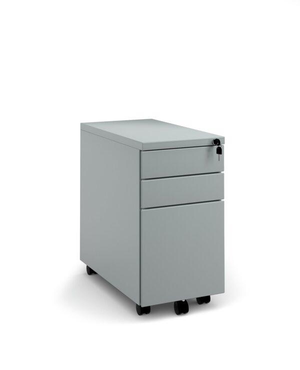 Steel 3 drawer narrow mobile pedestal - silver - Furniture