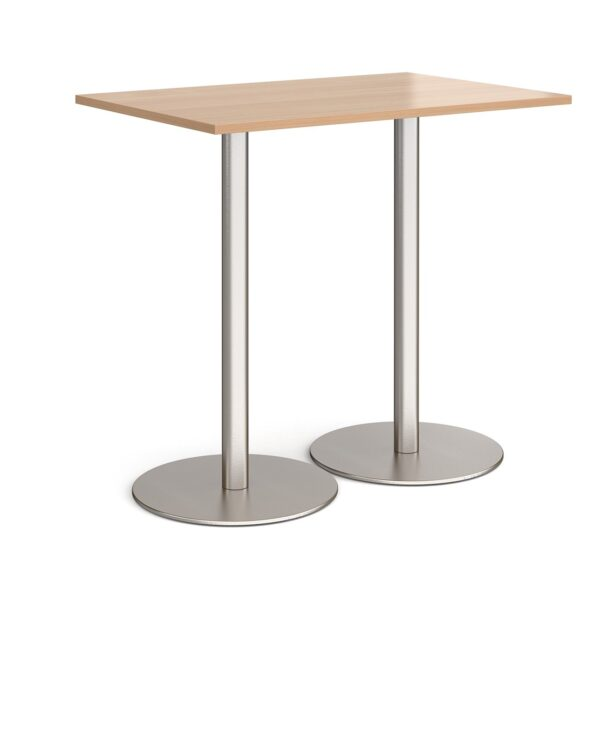 Monza rectangular poseur table with flat round brushed steel bases 1200mm x 800mm - beech - Furniture