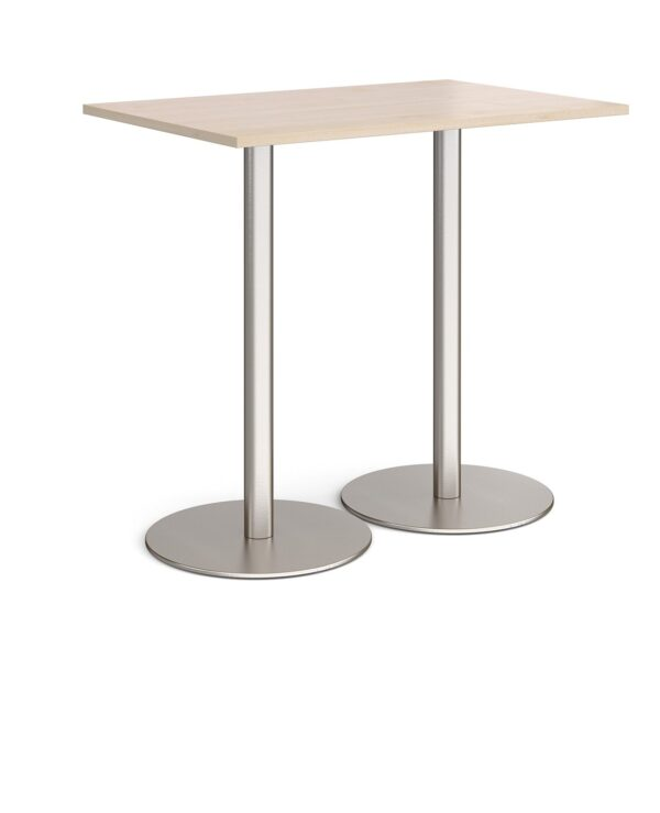 Monza rectangular poseur table with flat round brushed steel bases 1200mm x 800mm - maple - Furniture