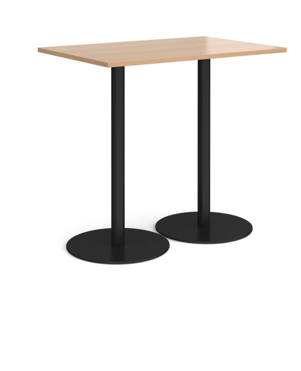 Monza rectangular poseur table with flat round black bases 1200mm x 800mm - beech - Furniture