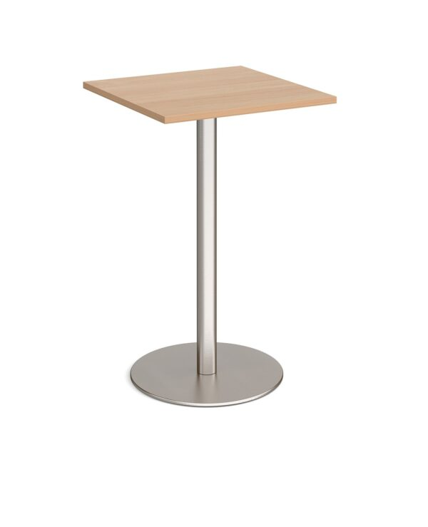 Monza square poseur table with flat round brushed steel base 700mm - beech - Furniture