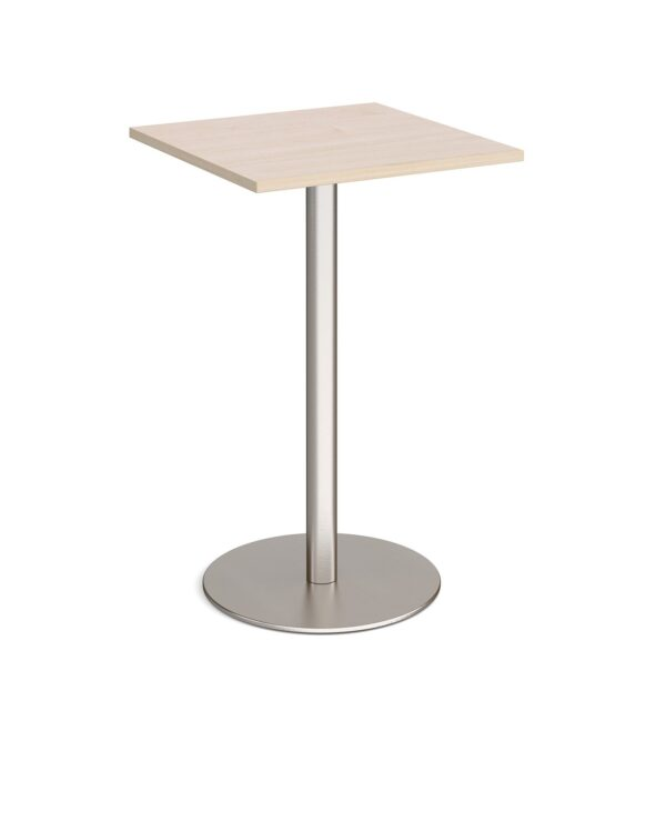 Monza square poseur table with flat round brushed steel base 700mm - maple - Furniture