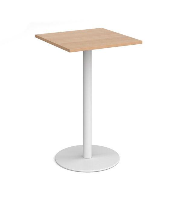 Monza square poseur table with flat round black base 700mm - beech - Furniture