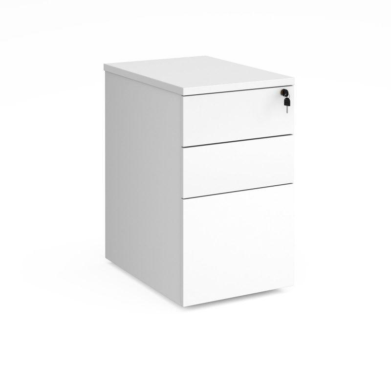 Deluxe desk high 3 drawer pedestal 600mm deep - white - Furniture