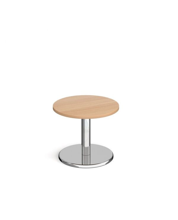 Pisa circular coffee table with round chrome base 600mm - beech - Furniture