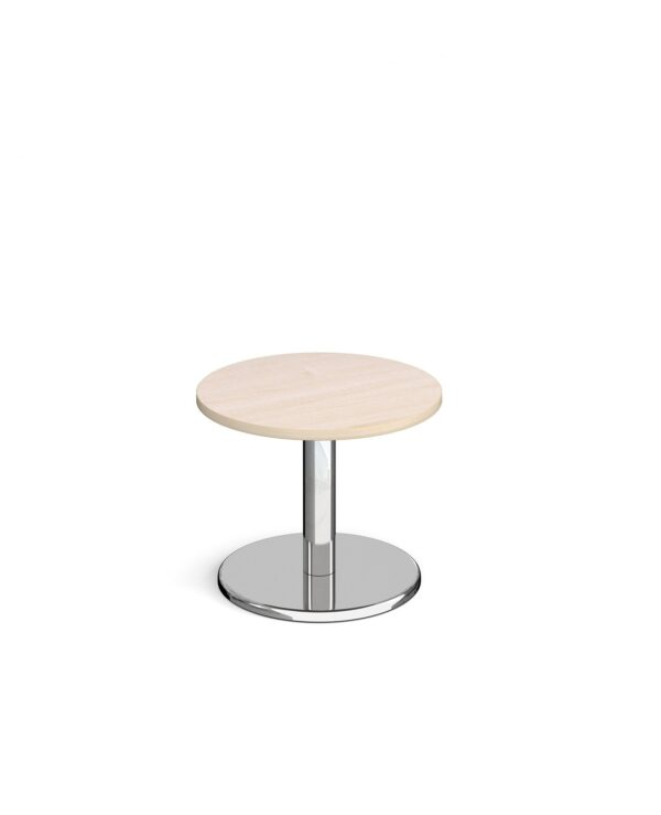Pisa circular coffee table with round chrome base 600mm - maple - Furniture