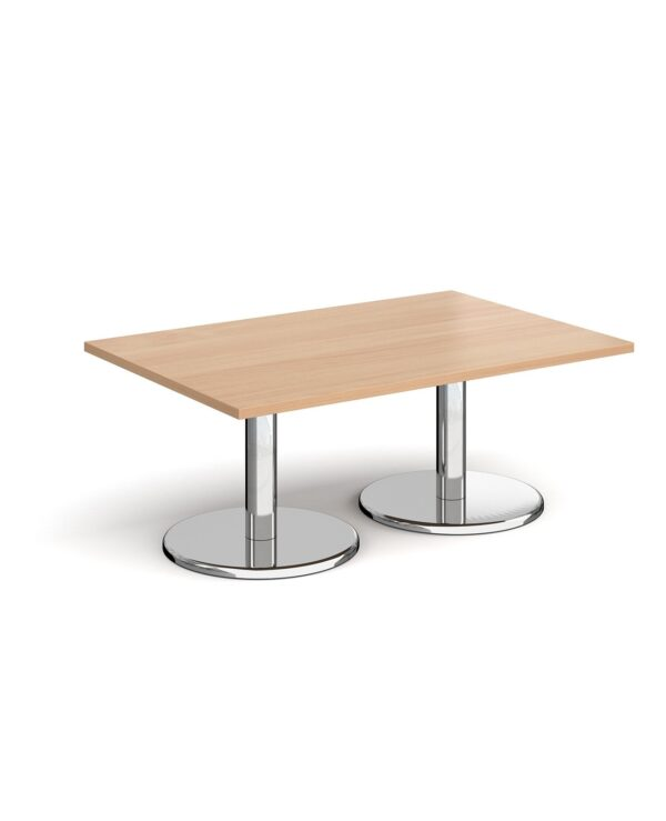Pisa rectangular coffee table with round chrome bases 1200mm x 800mm - beech - Furniture