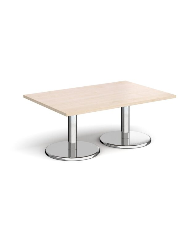 Pisa rectangular coffee table with round chrome bases 1200mm x 800mm - maple - Furniture
