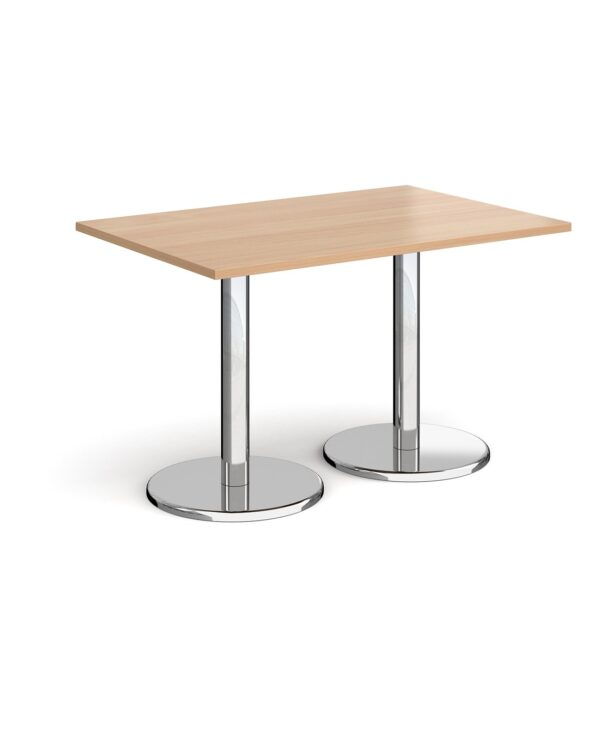 Pisa rectangular dining table with round chrome bases 1200mm x 800mm - beech - Furniture