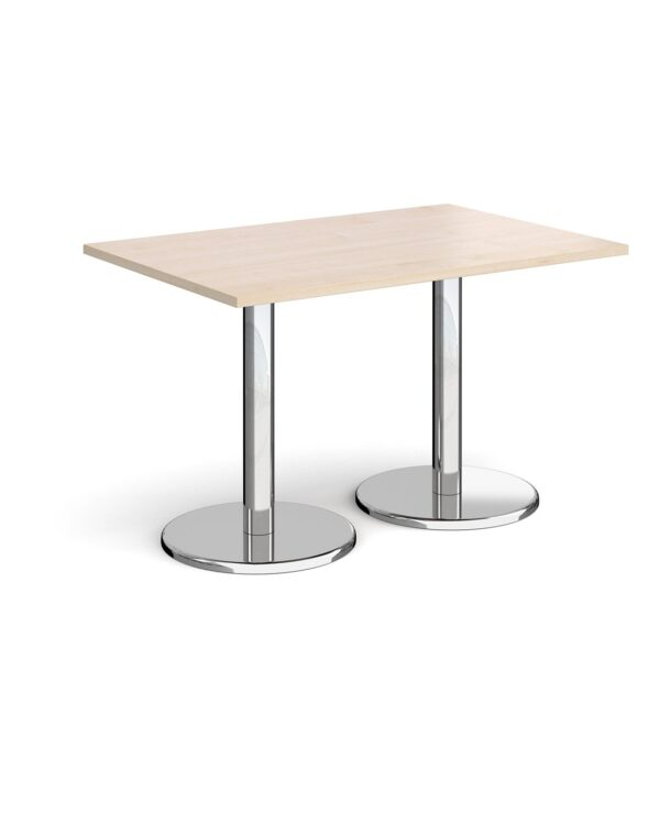 Pisa rectangular dining table with round chrome bases 1200mm x 800mm - maple - Furniture