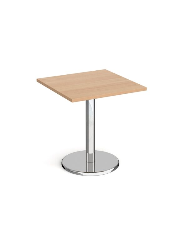 Pisa square dining table with round chrome base 700mm - beech - Furniture
