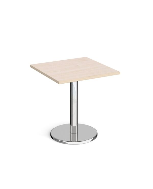Pisa square dining table with round chrome base 700mm - maple - Furniture