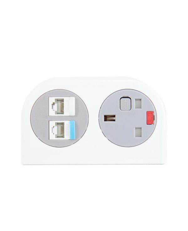Phase multi-surface power module 1 x UK socket, 2 x RJ45 sockets - white - Furniture