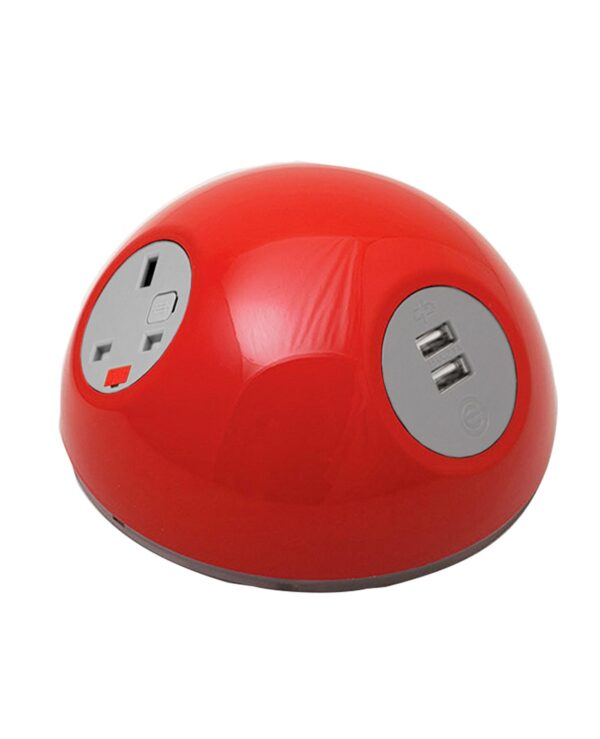 Pluto domed on-surface power module with 1 x UK socket, 1 x TUF (A&C connectors) USB charger - red - Furniture