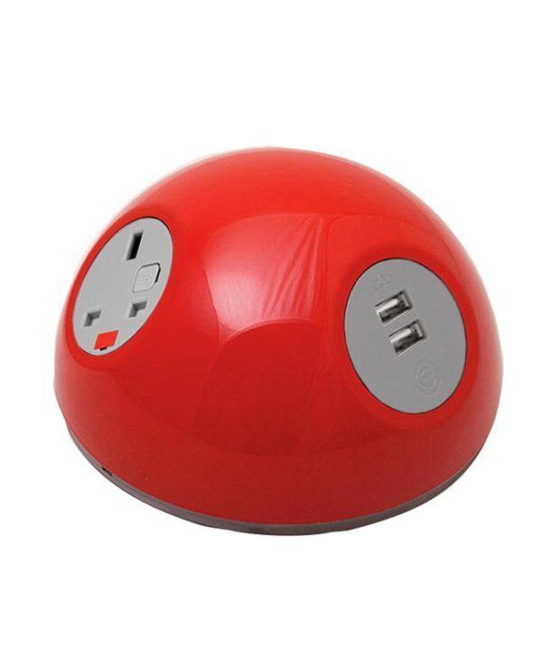 Pluto domed on-surface power module with 1 x UK socket, 1 x TUF (A&C connectors) USB charger - hot pink - Furniture