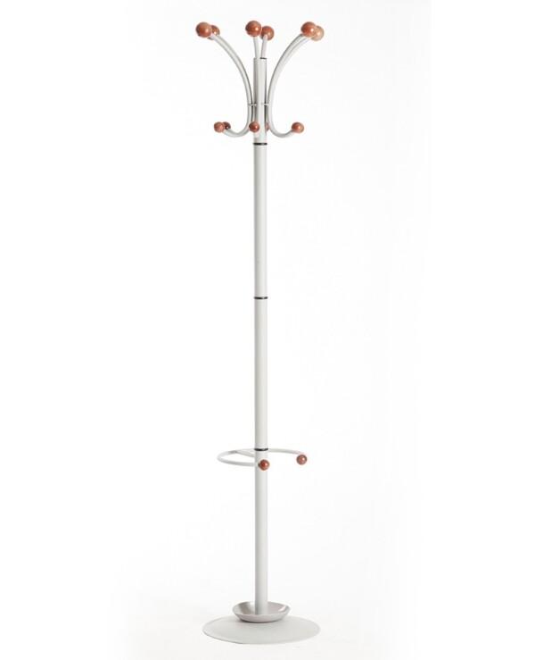 Coat & umbrella stand with 12 coat hooks and 4 umbrella hooks 1840mm high - silver - Furniture