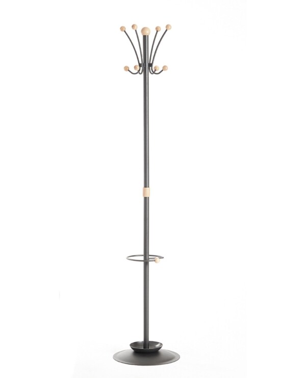Coat & umbrella stand with 8 coat hooks and 8 umbrella hooks 1780mm high - black and cream - Furniture