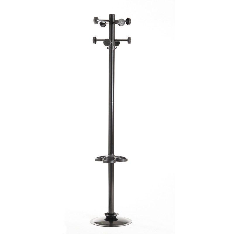 Coat & umbrella stand with 8 coat hooks and 8 umbrella hooks 1780mm high - black - Furniture