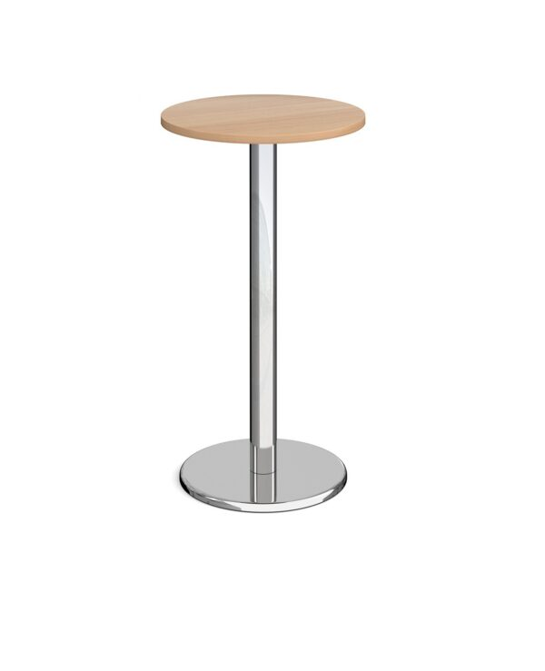 Pisa circular poseur table with round chrome base 600mm - beech - Furniture
