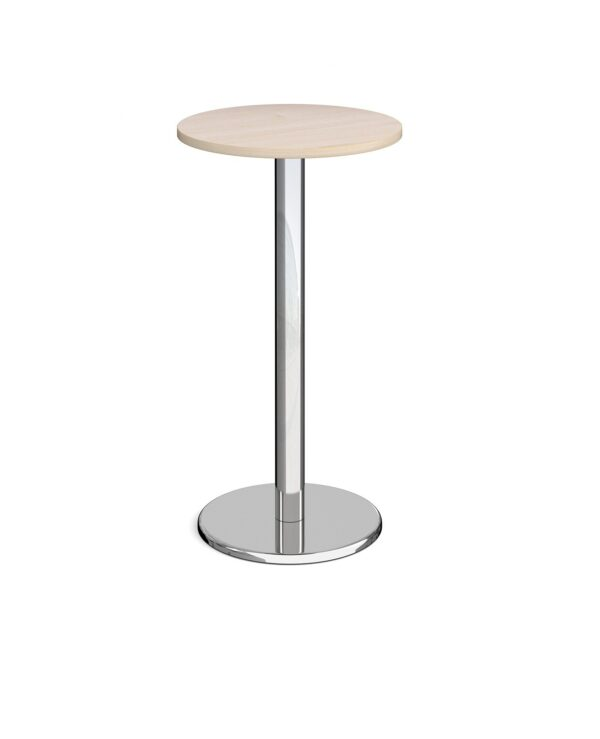 Pisa circular poseur table with round chrome base 600mm - maple - Furniture