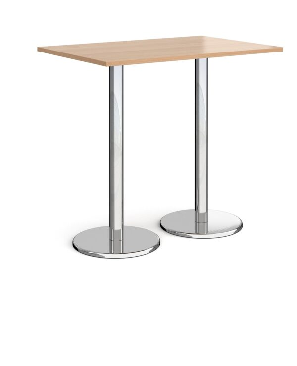 Pisa rectangular poseur table with round chrome bases 1200mm x 800mm - beech - Furniture