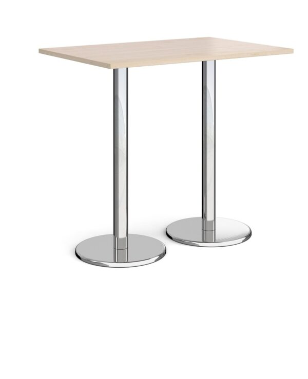Pisa rectangular poseur table with round chrome bases 1200mm x 800mm - maple - Furniture