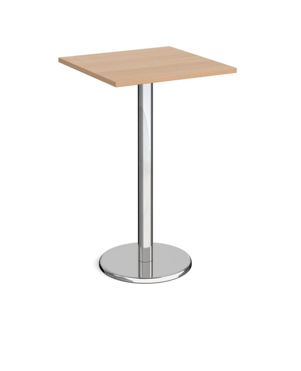 Pisa square poseur table with round chrome base 700mm - beech - Furniture