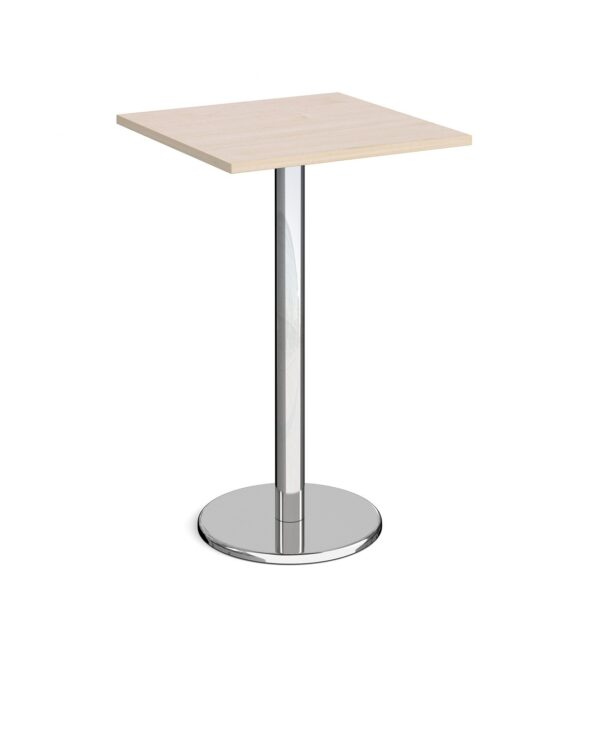 Pisa square poseur table with round chrome base 700mm - maple - Furniture