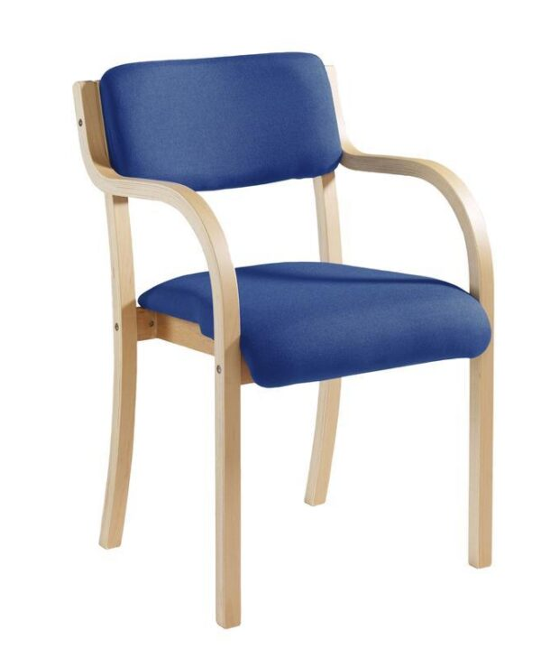 Prague wooden conference chair with double arms - blue - Furniture