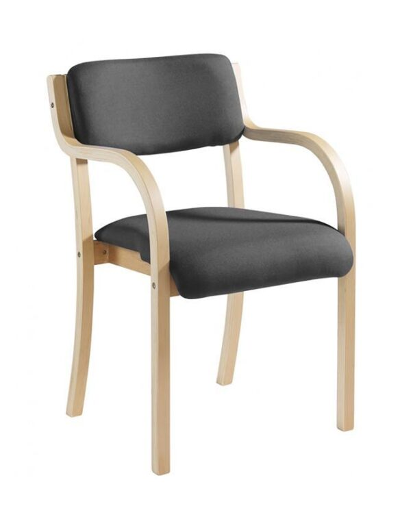 Prague wooden conference chair with double arms - charcoal - Furniture