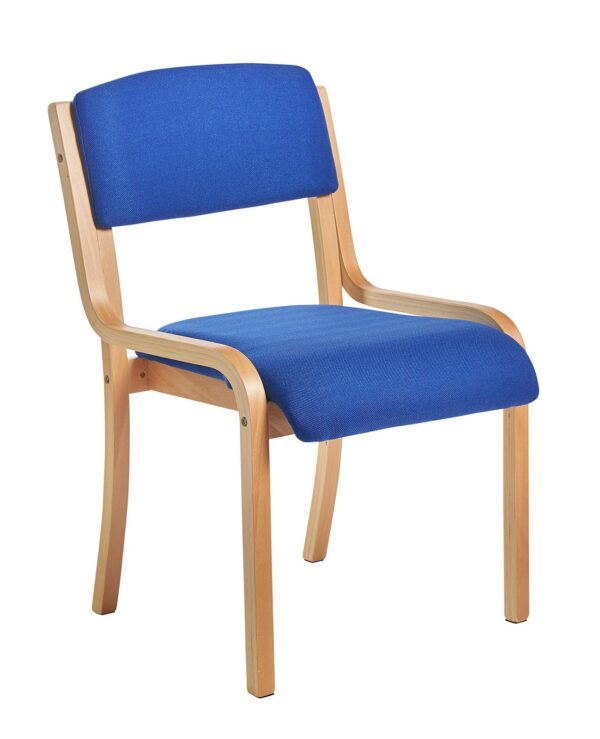 Prague wooden conference chair with no arms - blue - Furniture